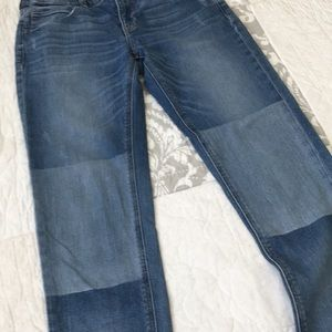 Express Girlfriend Mid Rise Faded Knee Distressed Jeans